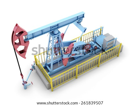 Oil pump isolated on a white background. 3d render image. - stock photo