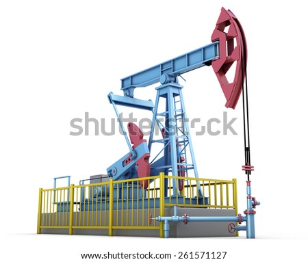 Oil pump isolated on white background. 3d illustration. - stock photo