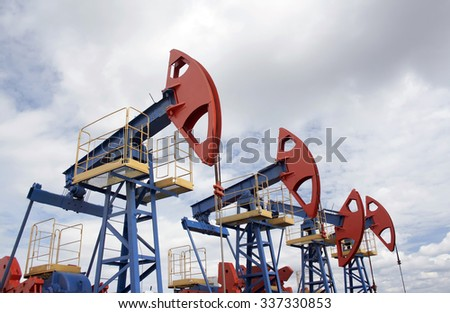 Oil pump jack. Oil and gas industry. Oil field - stock photo