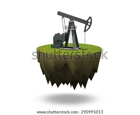 Oil pump on the flying island. Isolated on white. - stock photo