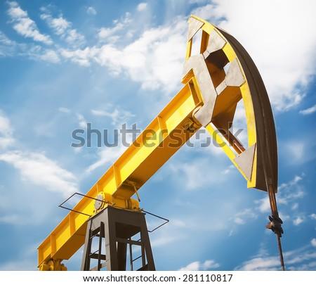 oil pumpjack - stock photo