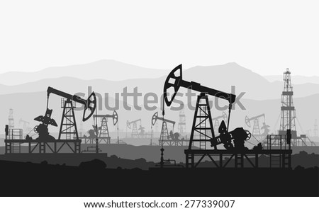 Oil pumps at large oilfield over mountain range. Raster version of the illustration. - stock photo
