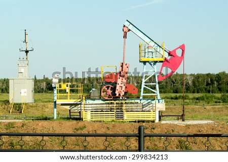 oil pumps extract oil - stock photo