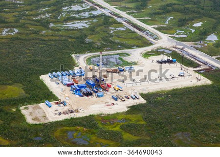 Oil pumps, oil industry equipment, top view - stock photo