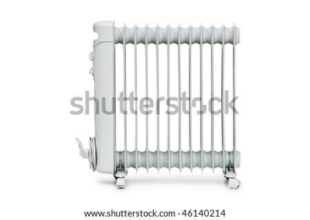 Oil radiator isolated on the white background - stock photo