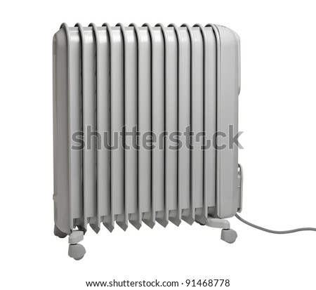 Oil radiator isolated on the white background (CLIPPING PATH) - stock photo