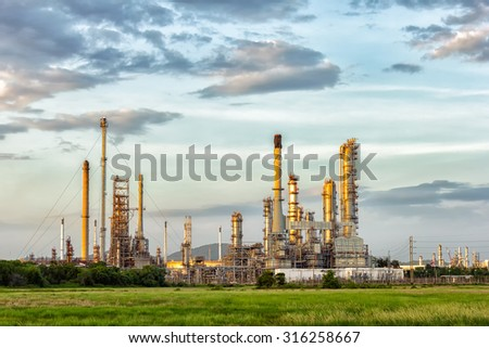Oil refinery at evening, locations in Thailand. - stock photo