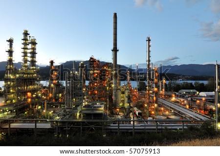 Oil refinery at night, Burnaby, British Columbia, Canada - stock photo