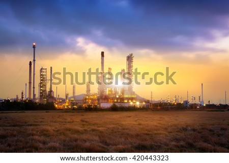Oil refinery at sunrise, Petrochemical industry concept - stock photo