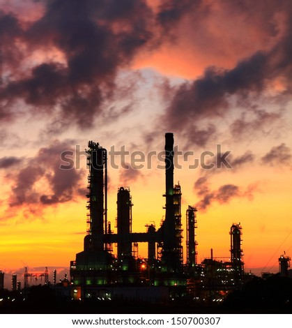 Oil refinery at sunrise, Thailand - stock photo