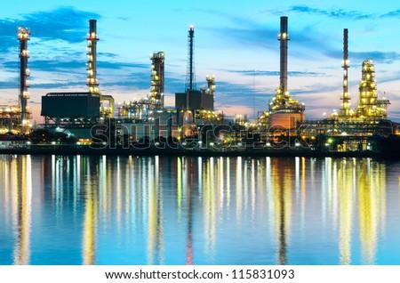 Oil refinery at twilight Bangkok Thailand - stock photo