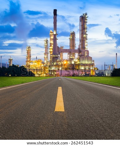 Oil refinery at twilight with sky background. - stock photo