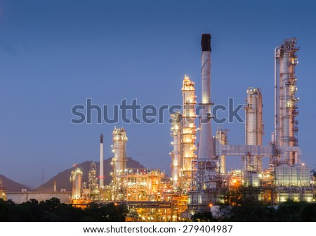 Oil refinery clean energy at twilight - stock photo
