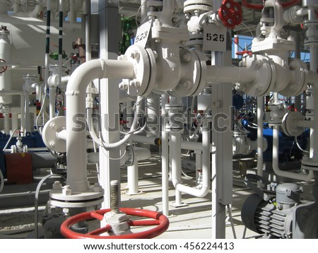 Oil refinery. Equipment for primary oil refining. - stock photo