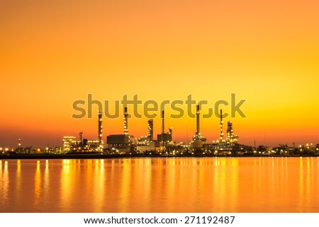 Oil refinery factory at sunrise, Bangkok Thailand - stock photo