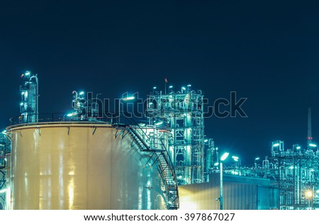 Oil Refinery factory at twilight , petrochemical plant , Petroleum , Chemical Industry  - stock photo