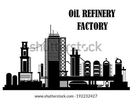 Oil refinery factory for industrial concept design. Vector version also available in gallery - stock photo