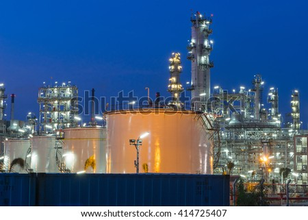 Oil Refinery factory in  evening, Petroleum, petrochemical plant - stock photo