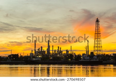 Oil refinery factory in the morning. - stock photo