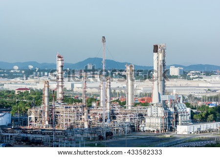 oil Refinery factory in the morning and Sunrise, Petroleum, industrial, Oil refinery industry, Oil refinery at twilight - stock photo