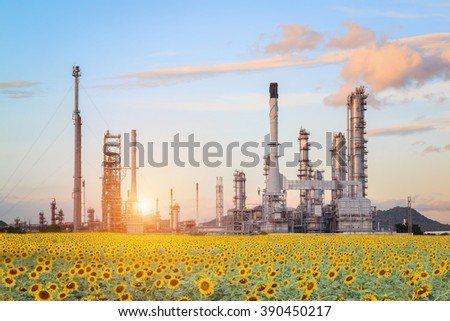 Oil Refinery factory in the morning , petrochemical plant , Petroleum. - stock photo
