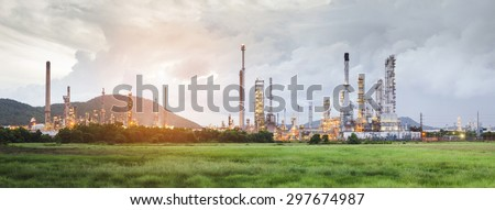 Oil Refinery factory of panorama , petrochemical plant , Petroleum - stock photo