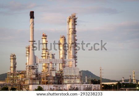 Oil Refinery factory  ,  petrochemical plant , Petroleum - stock photo