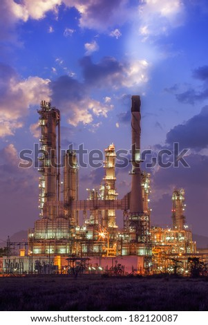 Oil refinery factory plant or chamical and power energy industrial. - stock photo