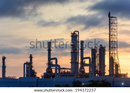 Oil refinery factory plant or petrochamical and power  - stock photo