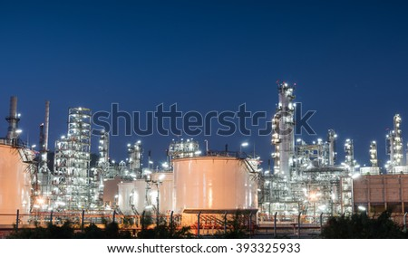 Oil refinery gas industry plant ofaa at sunset - stock photo
