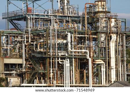 Oil refinery in JAPAN - stock photo