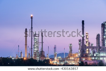 Oil refinery in morning day sunrise, Petroleum, petrochemical plant - stock photo