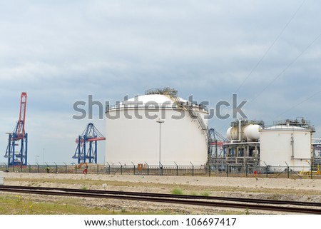 oil refinery in the port of rotterdam - stock photo