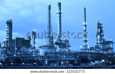 oil refinery industry in metallic color style use as metal style of heavy industry background - stock photo