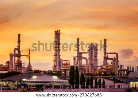 Oil refinery industry with oil storage tank - stock photo