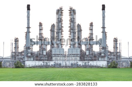 Oil refinery isolate on white background - stock photo