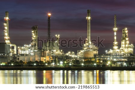Oil refinery or petrochemical industry with the Chao Phraya river in bangkok, thailand.Edit colorful. - stock photo