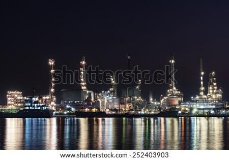 oil refinery petrochemical in heavy industry - stock photo