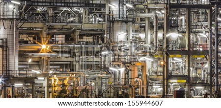 oil refinery plant and pipe line - stock photo
