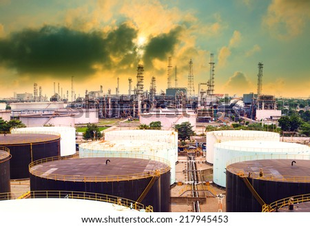 oil refinery plant in heavy industry estate against beautiful dusky sky use for petrochemical industrial and fuel energy business  - stock photo