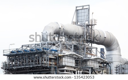 oil refinery plant machine part with white isolated background. - stock photo