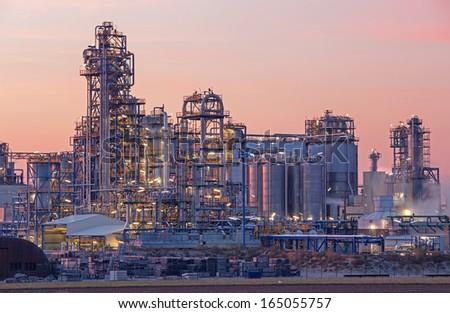 Oil refinery Schwechat in Austria in evening dusk - stock photo