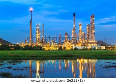 Oil refinery twilight  in Thailand - stock photo