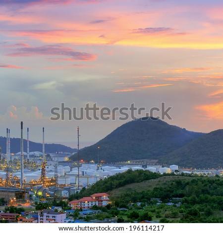 Oil refinery Twilight time sunrise Beautiful sky. - stock photo