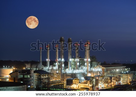 Oil Refinery twilight with moon industrial. - stock photo