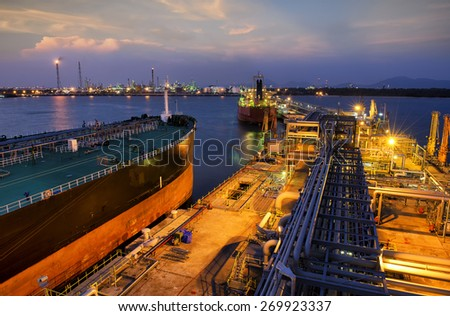 Oil ,refinery water reflection twilight sunset. - stock photo