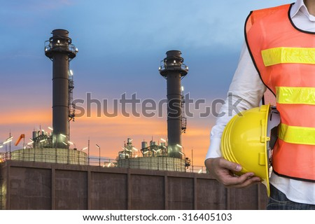 Oil Refinery with sunset  - stock photo