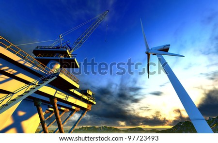 Oil rig and off shore wind  turbine - stock photo