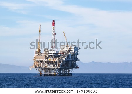 Oil Rig in the channel island near Ventura California. - stock photo