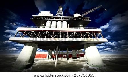 Oil rig  platform at sunset - stock photo